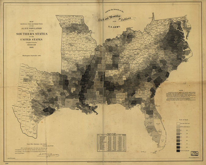 "Credit: ""Map showing the distribution of the slave population of the Suthern states of the United States. Compiled from the census of 1860. Drawn by E. Hergesheimer. Engr. by Th. Leonhardt."" Library of Congress, American Memory Map Collections."