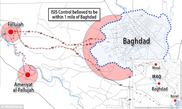 Credit: Daily Mail; Location: The militants are understood to have had their advance halted by airstrikes yesterday at Ameriyat Al-Falluja yesterday - a small city about 18 miles south of Fallujah and 40 miles west of Baghdad. But the clashes did not force the bulk of the fighters - with many of them now having made their way to the Baghdad suburbs.